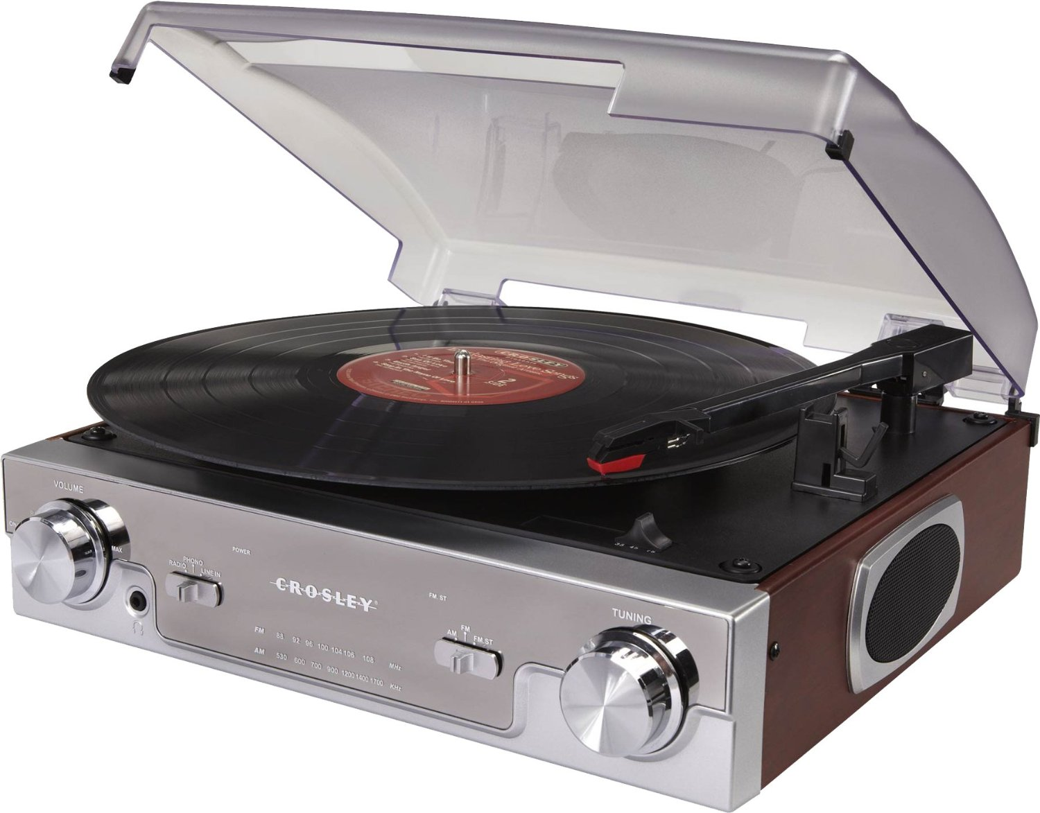 Crosley CR6005A-MA Tech Turntable with AM FM Radio and Portable Audio Ready (Mahogany) by Crosley
