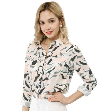 Allegra K Chemise à Manches Longues et à Fleurs pour Femmes Rose XL (EU 48) - image 1 de 6