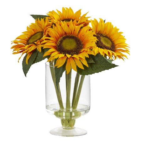 Nearly Natural 12 in. Sunflower Artificial Arrangement in Glass Vase ()