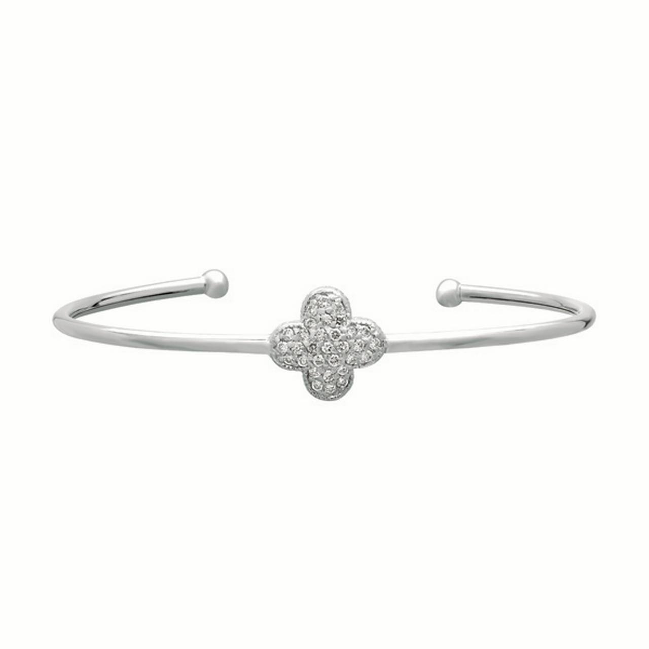 Diamond Jewelry, Clover Cuff Bracelet, 14 Karat White Gold, Diamond 0.37 Carats, 7 Inches Around, Open Cuff Closure by Diamond Jewelry