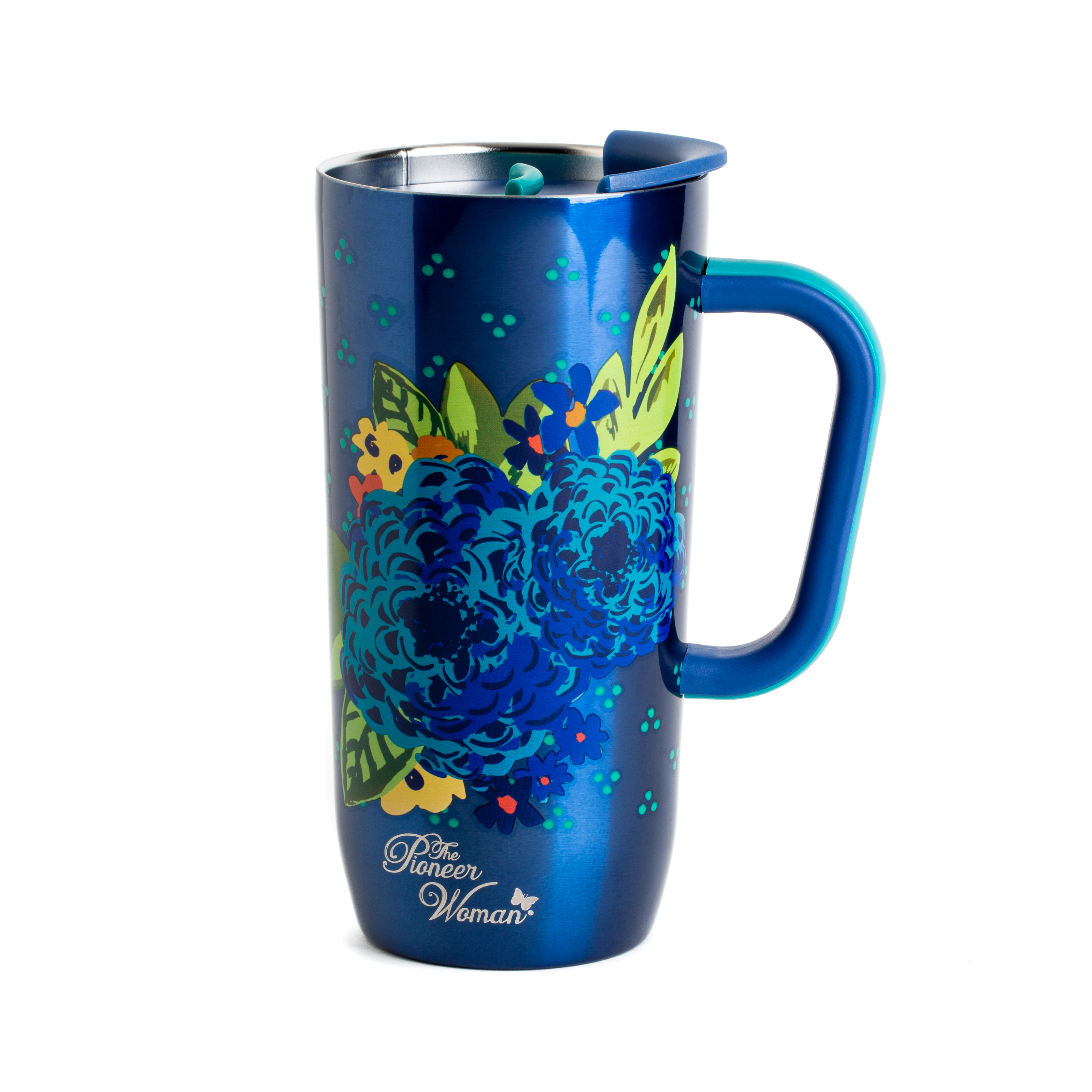 7a3a6c6ed8e The Pioneer Woman Frontier 20 Ounce Stainless Steel Double Wall Vacuum  Insulated Blue Travel Mug with Handle and Lid