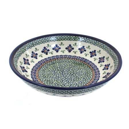 Polish Pottery Mosaic Flower Large Salad Bowl