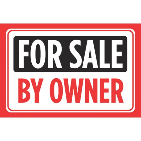 For Sale By Owner Print Black Red Signs Sell Window Poster Real Estate Business Office Car Auto Large 12 X 18 Sign   A