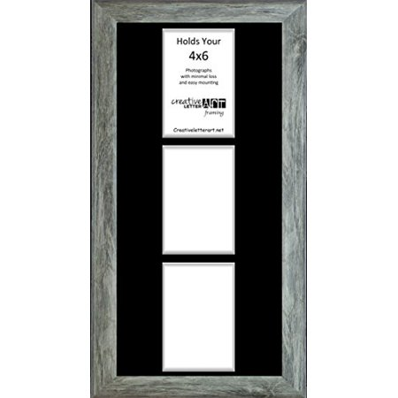 3 Opening Vertical Driftwood Frame With Black Mat To Hold 4x6