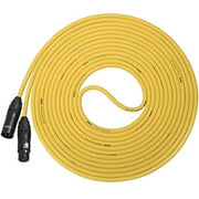 LyxPro Balanced XLR Cable 50 ft Premium Series Professional Microphone Cable, Powered Speakers and Other Pro Devices Cable, Yellow