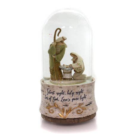 Christmas HOLY FAMILY MUSICAL WATER GLOBE Glass Silent Night 4058559 ()