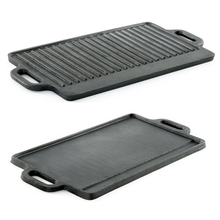 - ProSource Professional Heavy Duty Reversible Double Burner Cast Iron Grill Griddle