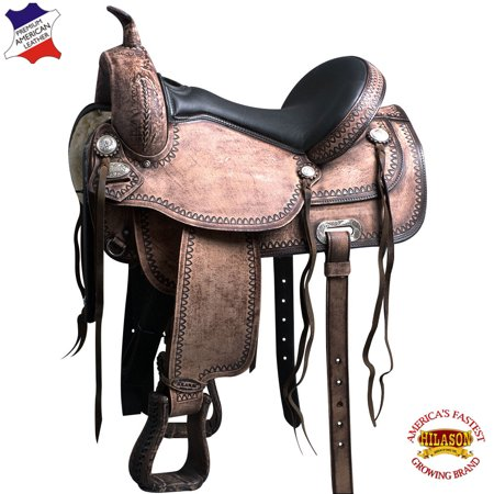 "17"" Western Horse Saddle American Leather Flex Tree Trail Hilason"