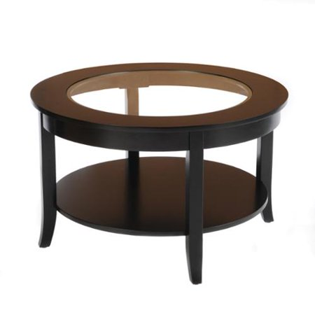 Bianco Collection Black 30 Inch Round Glass Top Coffee Table