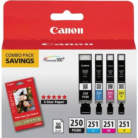 Canon 6497B004  Pgi 250  Cli 251  Ink   Paper Combo Pack  Black Cyan Magenta Yellow
