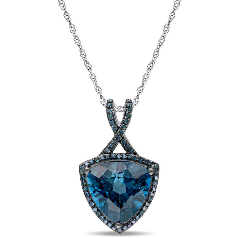 Tangelo 5 Carat T.G.W. London Blue Topaz and 1 3 Carat Blue Diamond 14kt White Gold and Blue Rhodium-Plating Trillion... by Tangelo