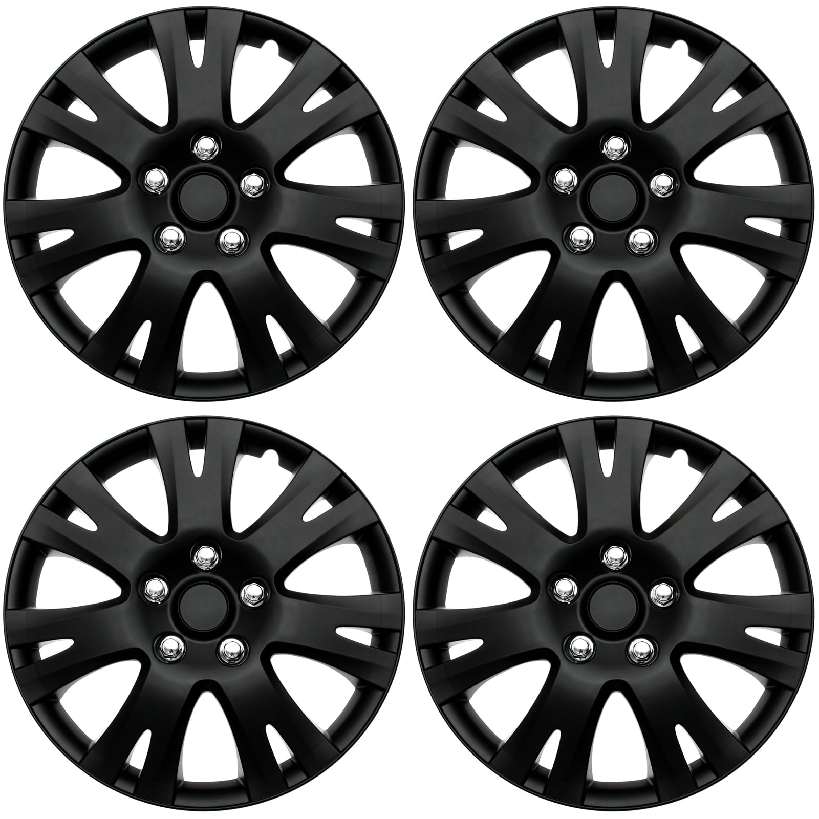4 Pc Set Hub Cap Abs Black Matte 16 Inch For Oem Steel Wheel Cover