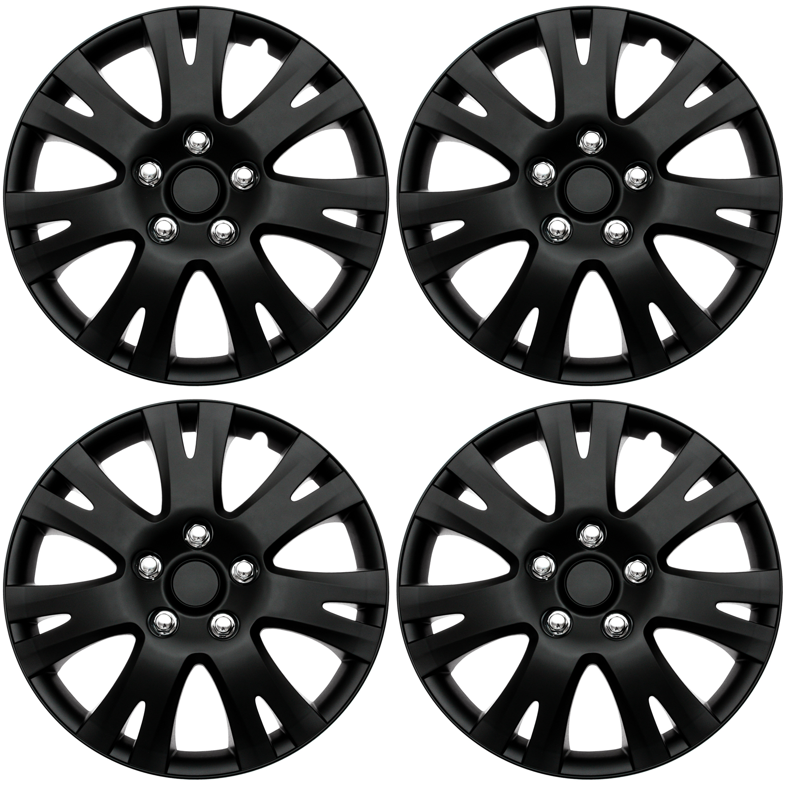"""4 PC SET Hub Cap ABS BLACK MATTE 16"""" Inch for OEM Steel Wheel Cover Caps Covers"""