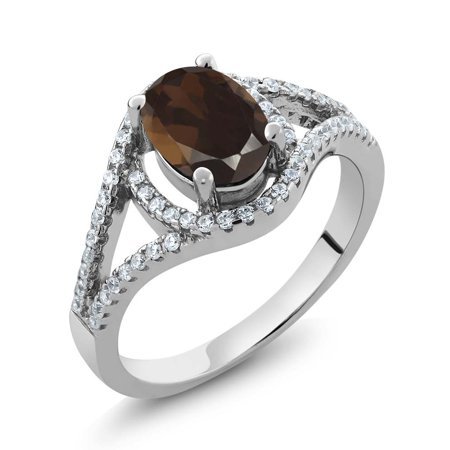 1.91 Ct Oval Brown Smoky Quartz 925 Sterling Silver Women's Ring