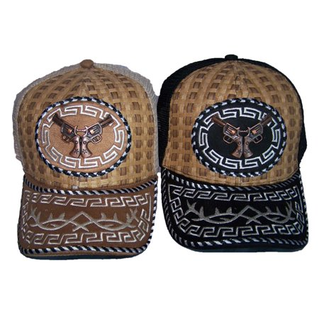 Rodeo Cow Boy Embroidered Mesh Baseball Caps Metal Pistols (Upholstered Arm Cap)
