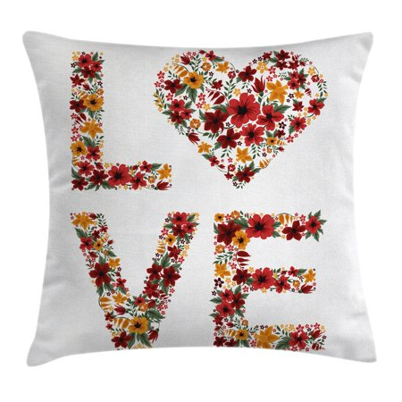 Couple Themes (Valentines Day Decor Throw Pillow Cushion Cover, Garden Fowers Romantic Love Letters Hears Image Couple Theme Print, Decorative Square Accent Pillow Case, 16 X 16 Inches, Multicolor, by)