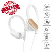 Sport Headphones, Woozik Trail Wireless Earbuds, Wireless Headphones with Microphone, Waterproof Stereo Headset for Running, Gym, Workouts (White)