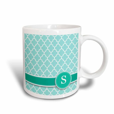 3dRose Personalized letter S aqua blue quatrefoil pattern Teal turquoise mint monogrammed personal initial, Ceramic Mug, 11-ounce