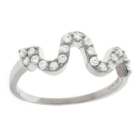 Rel International Sterling Silver Fancy Snake Wavy Cubic Zirconia Ring