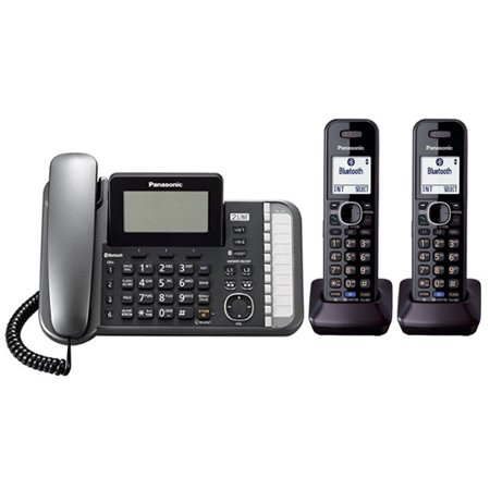 Panasonic KX-TG9582B DECT 6.0 2-Line Operation 3 Handset Phone System w/ Link2Cell & Noise Reduction (Telephones 3 Lines)