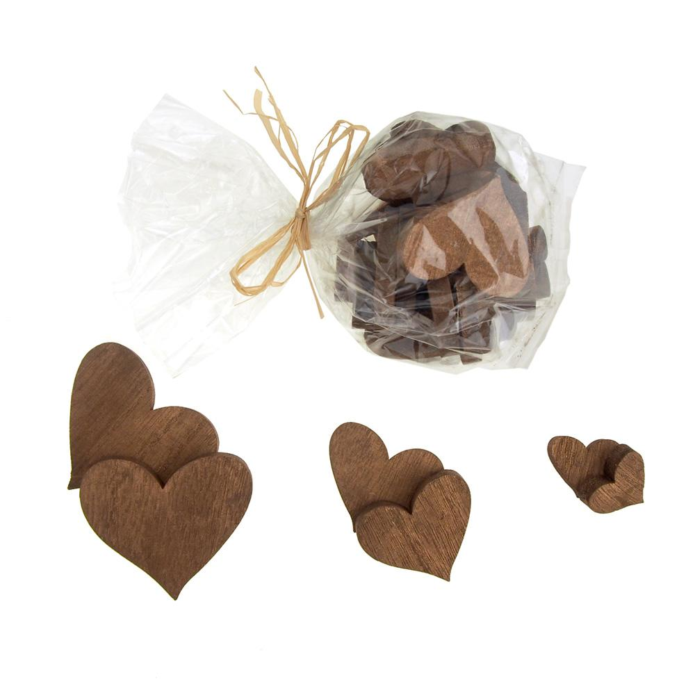 Christmas Heart Wooden Craft Cutouts, 3 Sizes, 30 Piece
