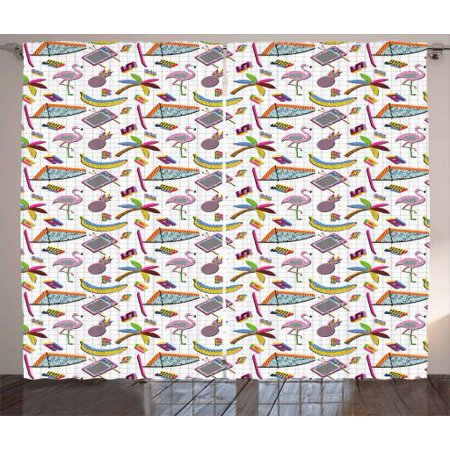 Flamingo Curtains 2 Panels Set, Retro Vintage 80s Memphis Style Summer Elements Geometrical Natural and Colorful, Window Drapes for Living Room Bedroom, 108W X 84L Inches, Multicolor, by Ambesonne](80s Room Decor)