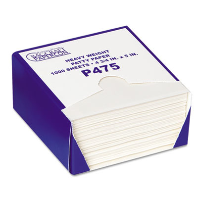 P475 Drywax Patty Paper Sheets, 4 3/4 X 5, White, 1000 Sheets/box BGC051475