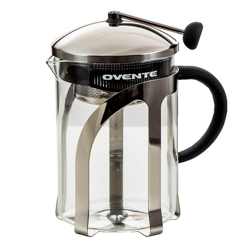 Ovente Glass Tea Maker with Stainless Steel Retractable Infuser, 27 oz, Stainless Steel and Heat Tempered Borosilicate Glass, FREE Measuring Scoop Included (FGC27T)