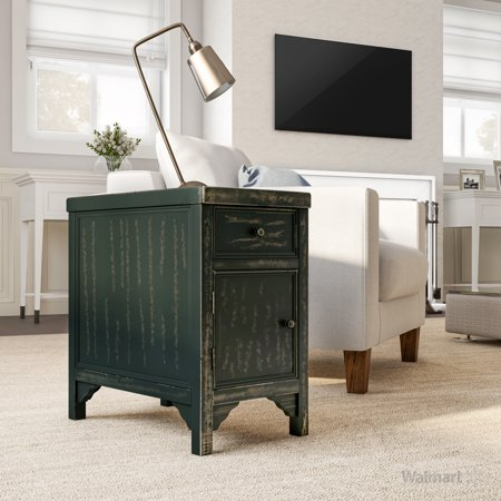 Furniture of America Denver Rustic Side Table, Antique Black ()