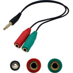 3.5MM 1/8IN 2TO1 HEADSET AND MICROPHONE ADAPTER