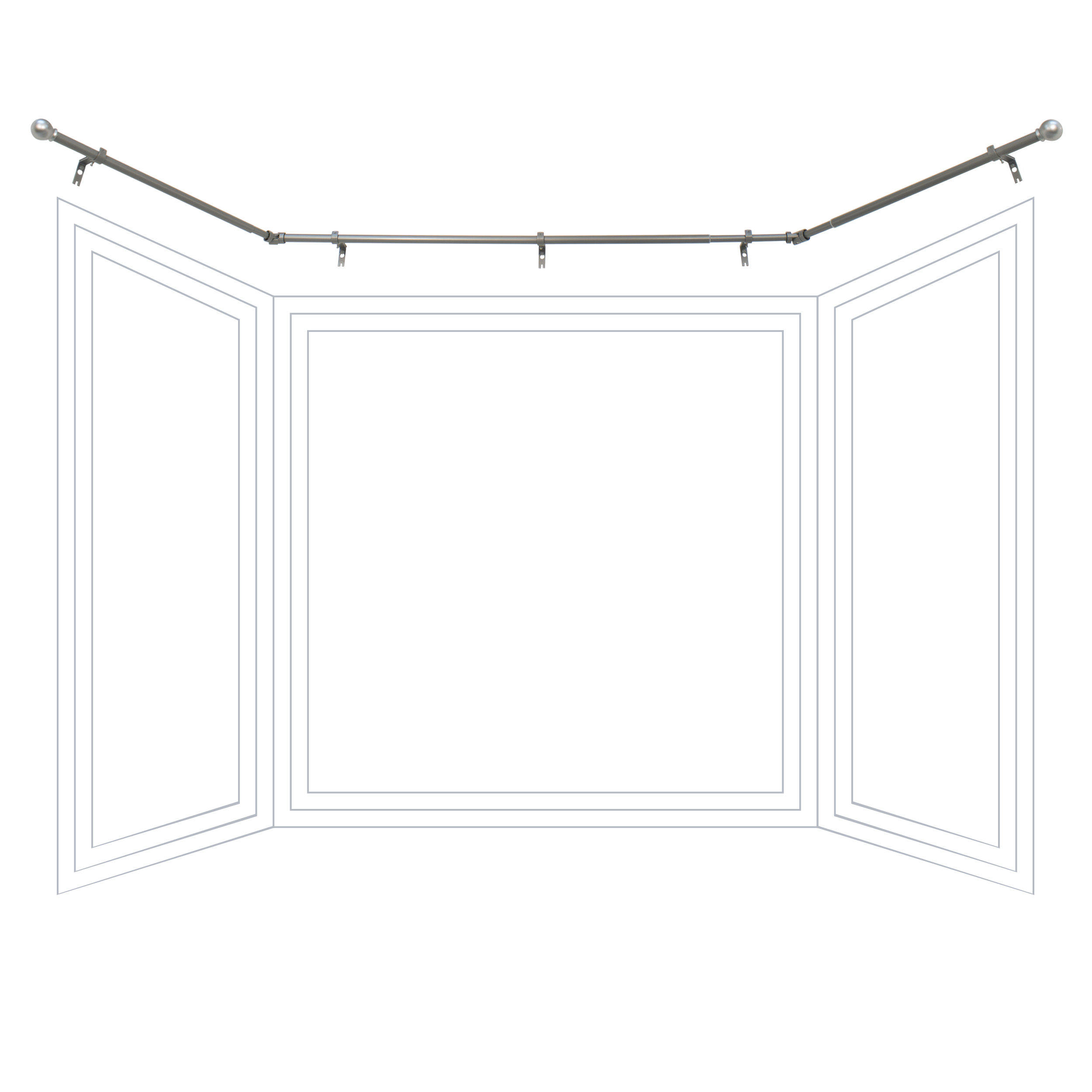 Better Homes and Gardens Bay Window Adjustable Drapery Rod Set by Beme International, LLC