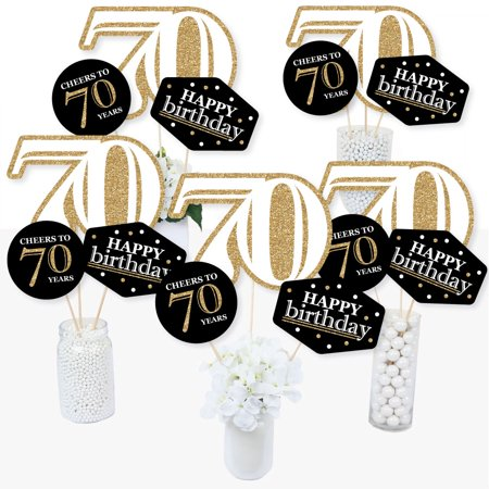 Adult 70th Birthday - Gold - Birthday Party Centerpiece Sticks - Table Toppers - Set of 15](Birthday Table Centrepieces)
