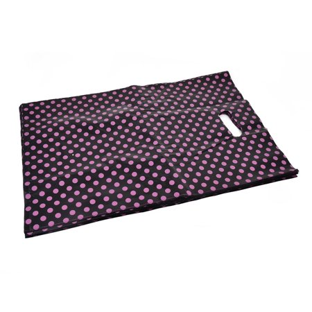 Unique Bargains Shop Dots Handbag Tote Carrier Holder Gift Shopping Bag Black 46 x 30.5cm 20pcs