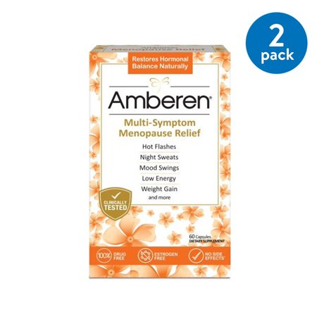 (2 Pack) Amberen, Multi-Symptom Menopause Relief Capsules, 60 (Over The Counter Medication For Menopause Symptoms)