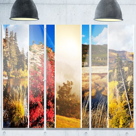 Design Art Designart Autumn In Sierra Nevade Collage Oversized Landscape Glossy Metal Wall Art