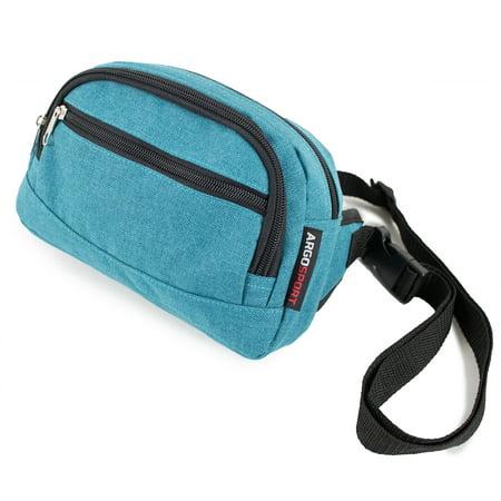 Fanny Pack Multi-pocket Heathered Turquoise Waist Bag