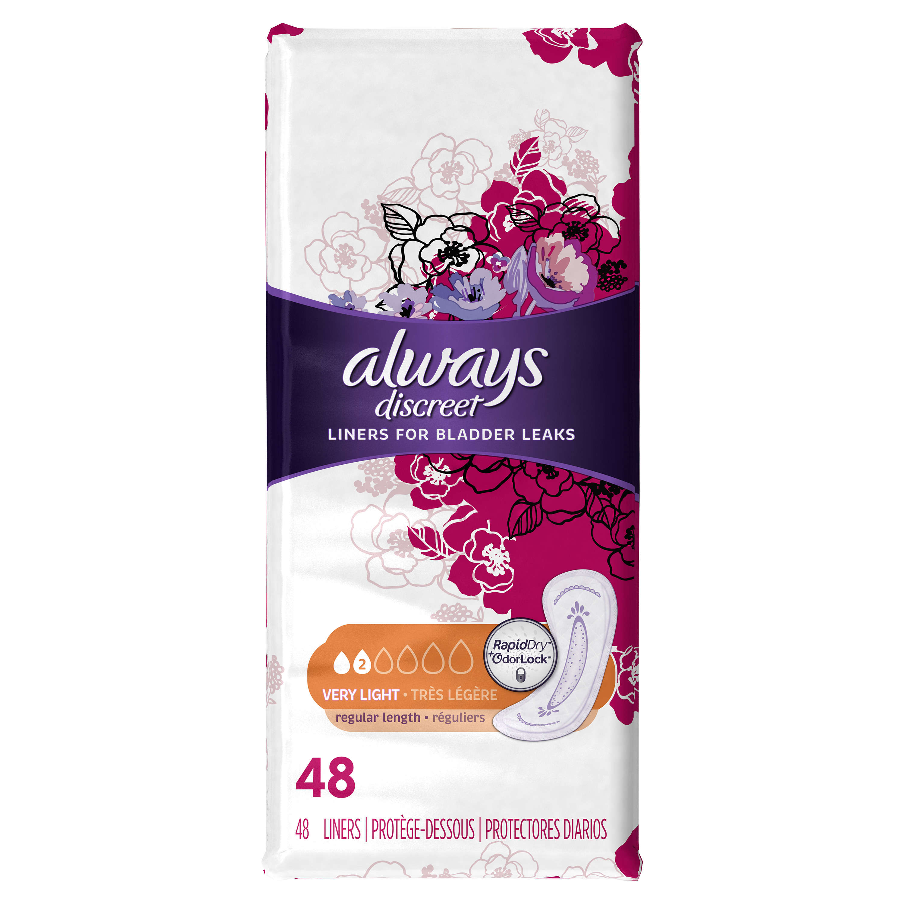 Always Discreet, Incontinence Liners, Very Light, Regular Length, 48 Count