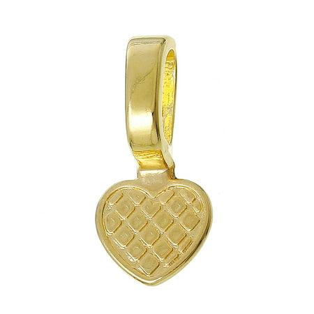 50 Glue on Bails Pendant Hanger Heart Gold Plated 22x10mm