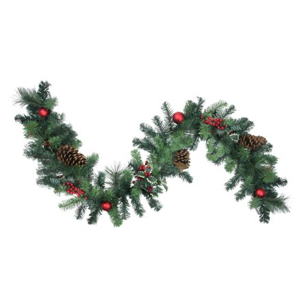 GE 6 ft. Pre-Decorated Holly Berry Pine Cone Twig and Ball Artificial Christmas Garland ()