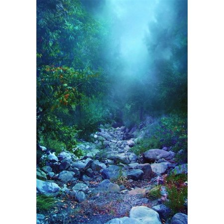 HelloDecor Polyster 5x7ft Magic Forest Backdrop For Photography Disarray Stones Pathway Blur Trees Fairy Tale Background Outdoor Adventure Photo Studio Props Kid Child Girl Boy Artistic Portrait - Stone Backdrop