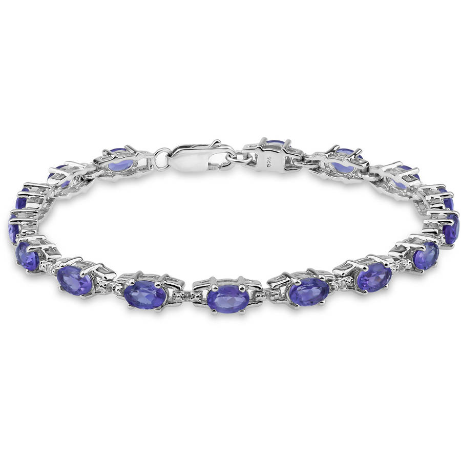 """Amethyst and White Topaz Sterling Silver Oval Tennis Bracelet, 7.5"""" by Helen Andrews Inc."""