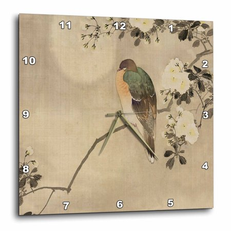 3dRose Image of Vintage Style Asian With Bird On Floral Branch - Wall Clock, 13 by 13-inch ()