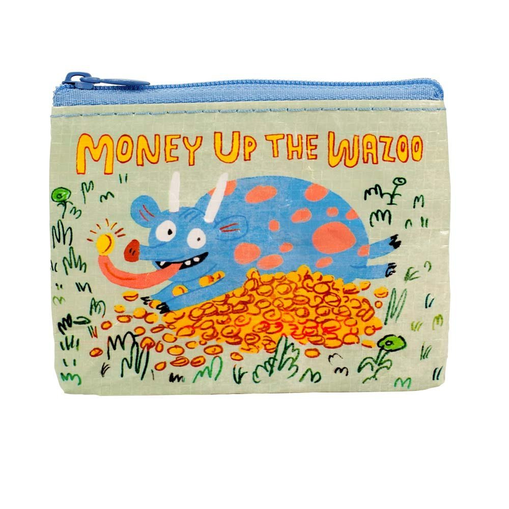 "Coin Purse - Blue Q - Money Up The Wazoo 4x3"" Wallet Bag QA559"