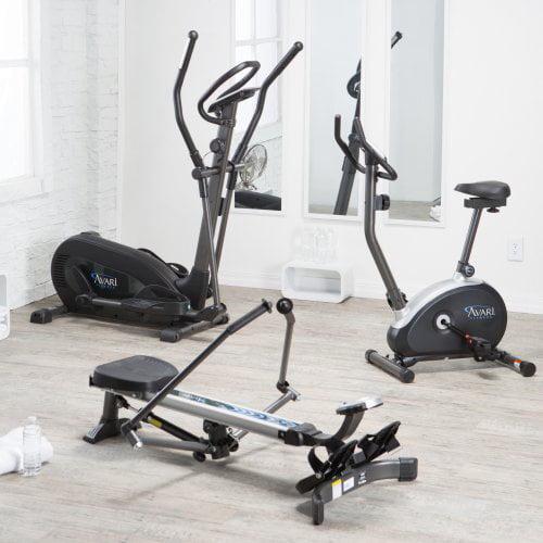 Stamina Avari Cardio Home Gym Bundle - Elliptical, Upright Bike & Rower