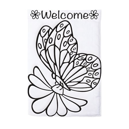 Carson Applique Color Me Garden Flag - Butterfly