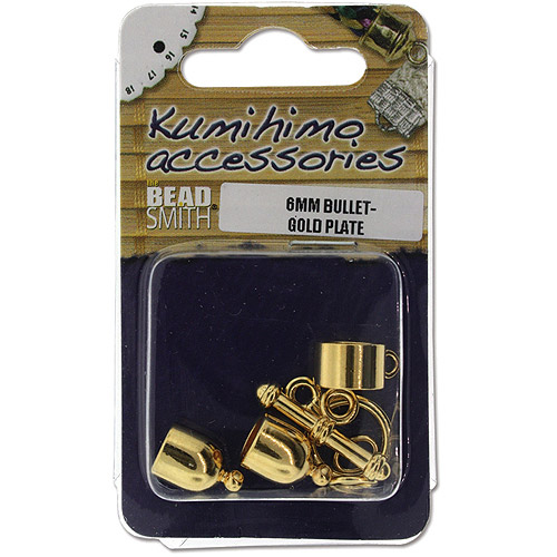 Kumihimo Bullet Finding Set, 6mm, Gold Plated