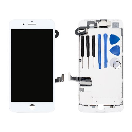 Ayake Full Display Assembly for iPhone 7 Plus White LCD Screen Replacement with Front Facing Camera and Speaker Pre-Assembled (All Required Tools