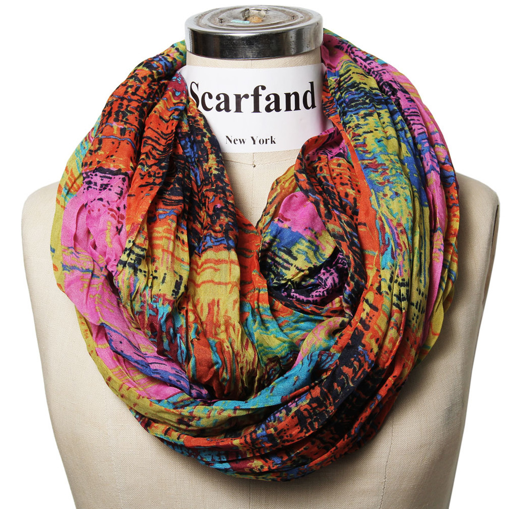 Mixed Color Oil Paint Infinity Scarf Head Wrap