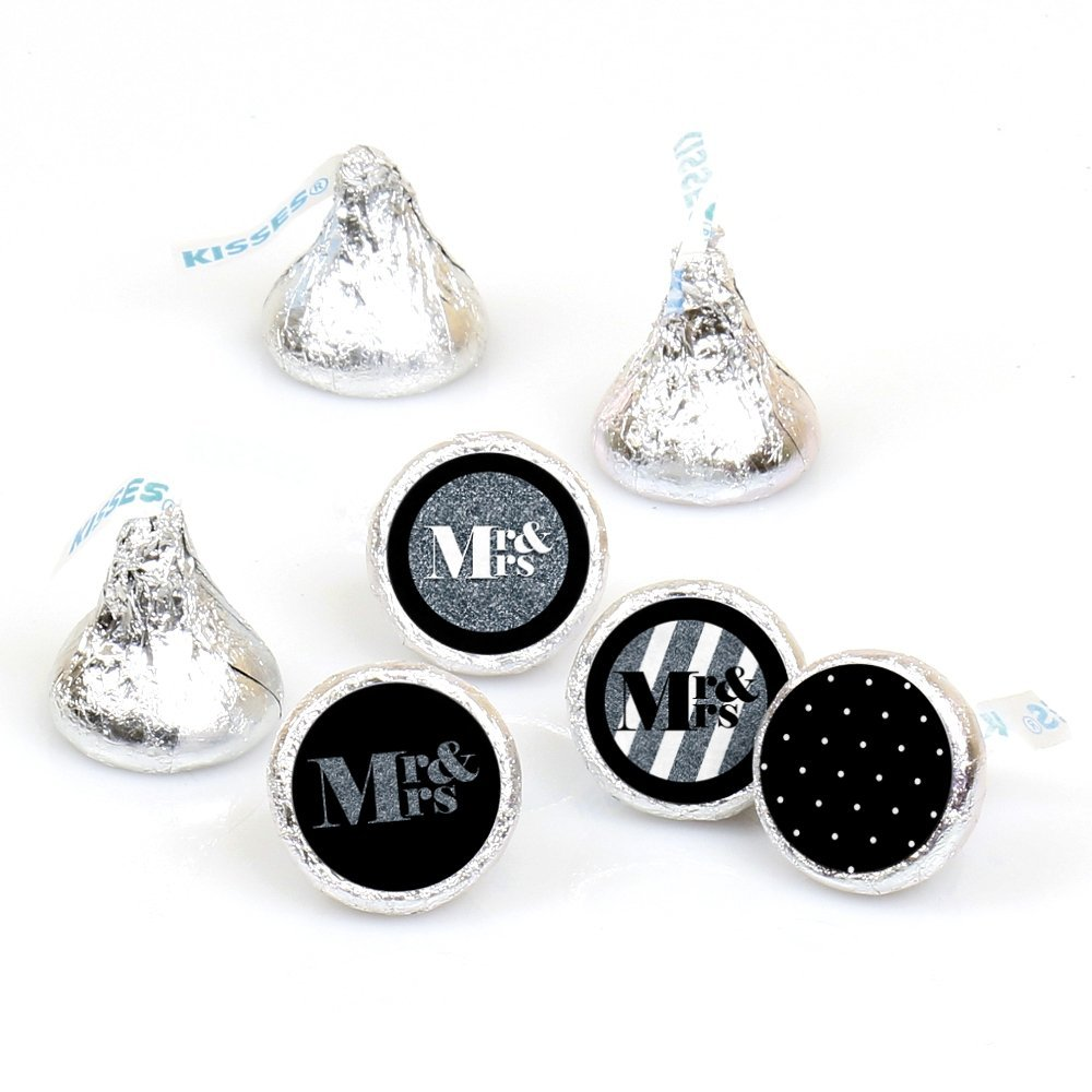 Mr. & Mrs. - Silver - Wedding Party Round Candy Sticker Favors  Labels Fit Hershey's Kisses (1 sheet of 108)