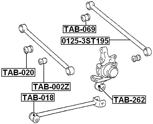 Febest Tab 002z Arm Bushing Rear Assembly Toyota Caldina St195 4wd